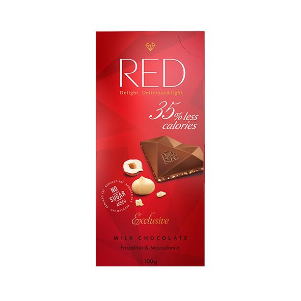 Шоколад молочный RED с фундуком и макадамией с пониженной калорийностью