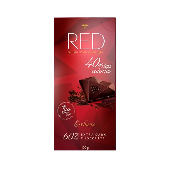 """Шоколад тёмный RED с """"Экстра"""" 60% какао с пониженной калорийностью"""